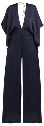 Roland Mouret Auclair Wide Leg Hammered Silk Jumpsuit - Womens - Navy