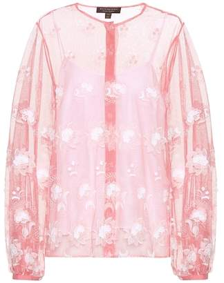 Burberry Embroidered tulle blouse