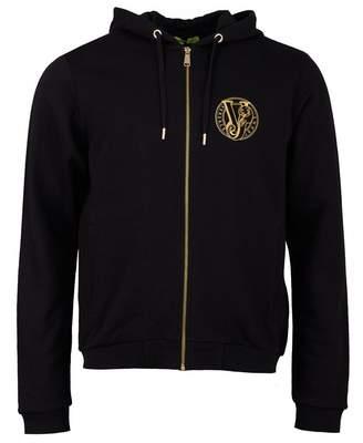Versace Zip Through Chest Logo Hoody Colour: BLACK, Size: XXL
