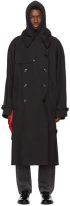 Vetements Black Plastic Bag Trench Coat