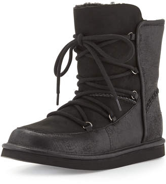 UGG Lodge Fur-Lined Lace-Up Bootie Black