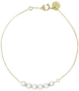 Sweet Pea Six Pearl Diamond Chain Bracelet - Yellow Gold
