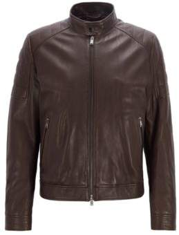 BOSS Hugo Regular-fit blouson leather jacket padded shoulders 36R Dark Brown