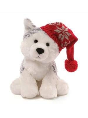 Gund Baby's Christmas Flurry Husky with Cap Plush Toy