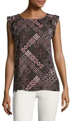 Lord & Taylor Petite Moroccan Printed Sleeveless Top