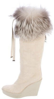 Christian Dior Fox Fur Cannage Boots