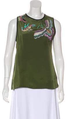 Andrew Gn Embroidered Sequin Blouse Green Embroidered Sequin Blouse