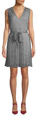 Max Studio V-Neck A-Line Belted Gingham Dress