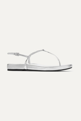 Prada Metallic Leather Sandals - Silver
