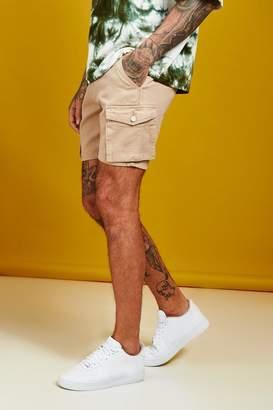 boohoo Slim Fit Cargo Denim Shorts