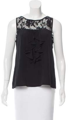 Christian Lacroix Lace-Trimmed Silk Top