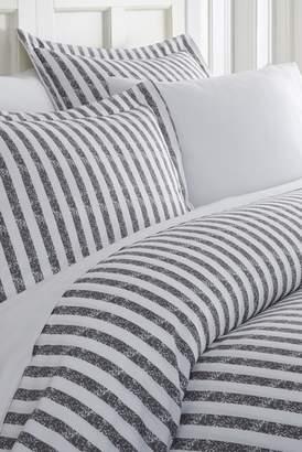 IENJOY HOME Home Spun Premium Ultra Soft 3-Piece Puffed Rugged Stripes Duvet Cover Queen Set - Gray