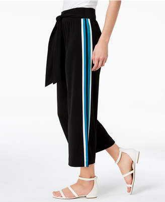 INC International Concepts I.n.c. Petite Side-Striped Cropped Wide-Leg Pants, Created for Macy's