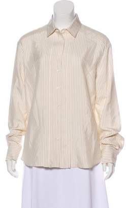 Agnona Pleated Stripe Blouse