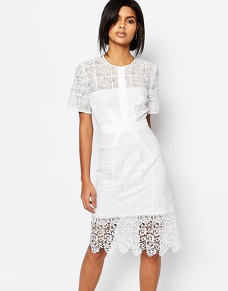 Whistles Ailsa Placement Lace Dress in White $316 thestylecure.com