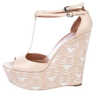 Alaia T-Strap Wedge Sandals