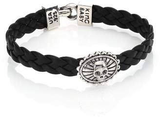 King Baby Studio Men's Braided Leather Concho Bracelet