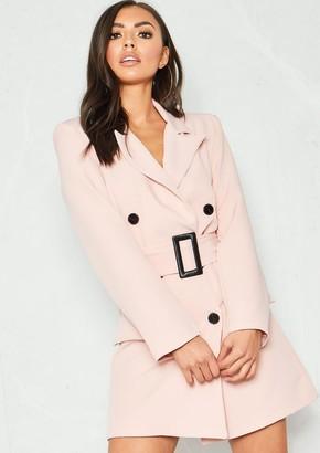 cb9a82bbaa50 Missy Empire Missyempire Leandra Pink Belted Blazer Dress