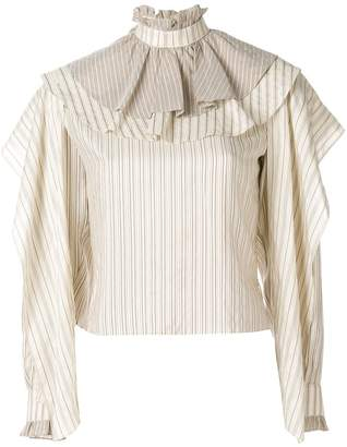 J.W.Anderson Mix Stripe Ruffle Top