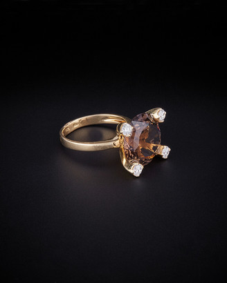 14K Italian Gold 6.25 Ct. Tw. Diamond & Smokey Quartz Ring