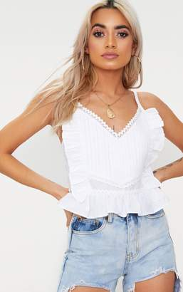 PrettyLittleThing White Cotton Frill Detail Cami Top