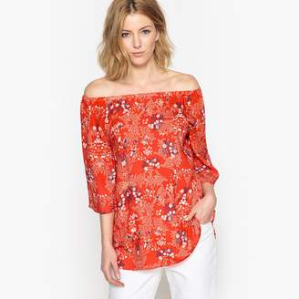 Anne Weyburn Off the Shoulder Printed Blouse