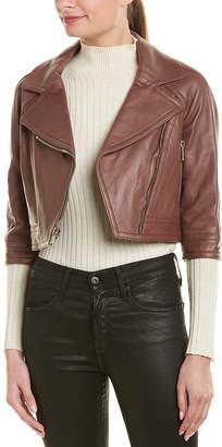 Yigal Azrouel Cropped Leather Moto Jacket