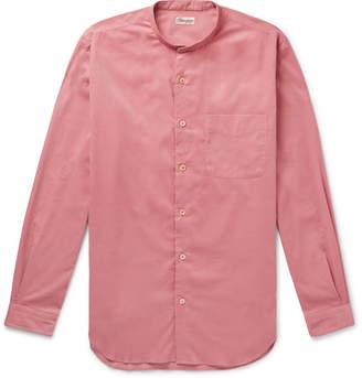 Camoshita Grandad-Collar Cotton-Corduroy Shirt - Men - Pink