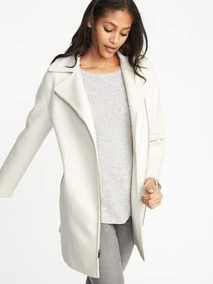 Old Navy Long-Line Brushed-Felt Sherpa-Collar Moto Jacket for Women