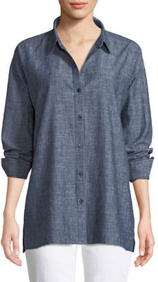 Eileen Fisher Button-Front Long-Sleeve Chambray Blouse, Petite