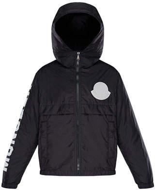 Moncler Hooded Nylon Jacket w/ Logo Sleeve, Size 8-14