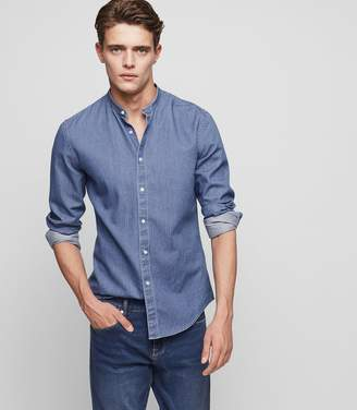 Reiss Torque Denim Grandad-Collar Shirt