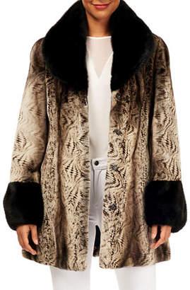 Gorski Semi-Sheared Mink Fur Reversible Stroller Coat w/ Short-Nap Contrast
