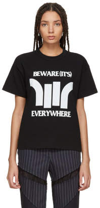 Sacai Black Beware Zip T-Shirt