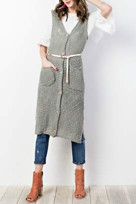 Easel Sweater-Knit Maxi Vest
