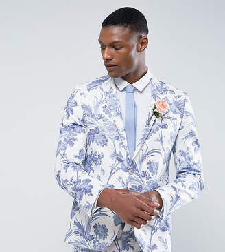 Asos Tall Wedding Skinny Suit Jacket In Blue And White Cotton Floral Print
