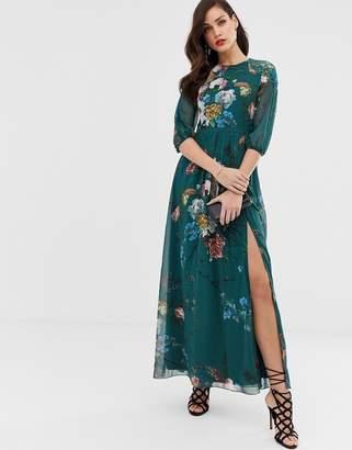 Little Mistress 3/4 sleeve floral chiffon maxi dress