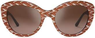 Patterned Serif-T Cat-Eye Sunglasses