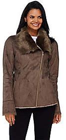 Dennis Basso Faux Shearling Jacket w/ Faux FurCollar & Cuffs