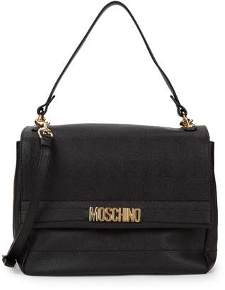 Moschino Pebbled Leather Messenger Bag