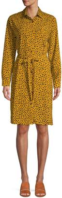 Pure Navy Leopard-Print Belted Shirtdress