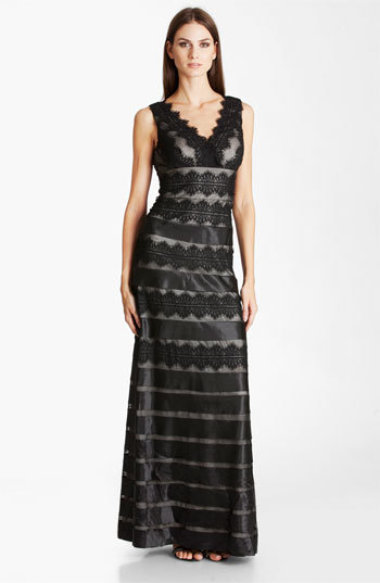 JS Collections Satin Lace Mesh Gown