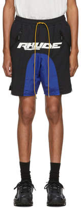Rhude Black and Blue Logo Colorblock Shorts