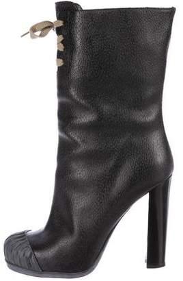 Fendi Leather Round-Toe Mid-Calf Boots