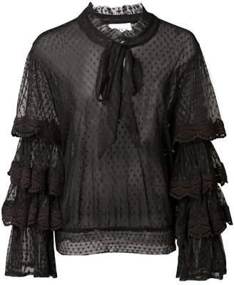 MISA Los Angeles tiered sleeve sheer blouse