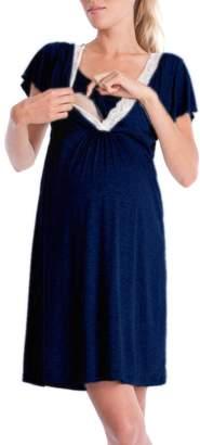 Shinekoo Women Maternity Dress Pregnant Hospital Nightgown Nursing Sleepwear