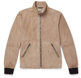 Giorgio Armani Slim-Fit Leather-Trimmed Suede Blouson Jacket