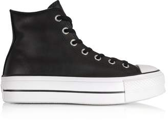Converse Limited Edition Chuck Taylor All Star Lift Clean Black Leather High Top Platform Sneakers