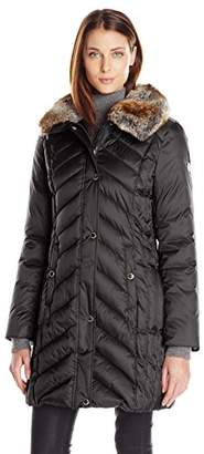 Halifax Traders Women's Chevron Puffer Coat With Faux Fur Collar