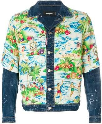 DSQUARED2 Hawaiian print denim jacket